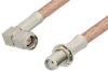 SMA Male Right Angle to SMA Female Bulkhead Cable 12 Inch Length Using PE-P195 Coax -- PE33749-12 -Image