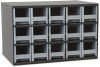 Akro-Mils 19 Gray Powder Coated Steel 24 ga Stackable Heavy Duty Versatile Cabinet - 11 in Overall Length - 17 in Width - 11 in Height - 15 Drawer - Non-Lockable - 19715 GREY -- 19715 GREY - Image