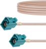 Water Blue FAKRA Jack to FAKRA Jack Cable 12 Inch Length Using RG316 Coax -- FMCA1354Z-12 -Image