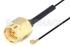 SMA Male to UMCX 2.1 Plug Cable 3 Inch Length Using 0.81mm Coax, RoHS -- PE3CA1028-3 -Image