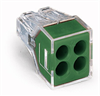 PUSH WIRE® connector for junction boxes; 4-conductor terminal block; transparent housing; green cover -- 773-114