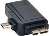 2-in-1 OTG Adapter, USB 3.0 Micro B Male and USB 2.0 Micro B Male to USB A Female -- U053-000-OTG - Image