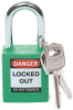 Brady Green Nylon Steel 6-pin Keyed & Safety Padlock 99564 - 1 1/2 in Width - 1 3/4 in Height - 1/4 in Shackle Diameter - 1 Key(s) Included - 754476-99564 -- 754476-99564