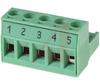 Plug, Terminal Block; 12 A; 250 V; 5 mm; 5 position, screw, Pre-Printed -- 70055292