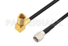 SMA Male to SSMC Plug Right Angle Low Loss Cable 24 Inch Length Using LMR-100 Coax -- PE3C4423-24 -Image