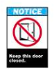 Brady ANSI Z535 Safety Signs: Keep This Door Closed -- se-19-038-188