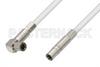 75 Ohm Mini SMB Plug to 75 Ohm Mini SMB Plug Right Angle Cable 24 Inch Length Using 75 Ohm PE-B159-WH White Coax -- PE38140/WH-24 -Image