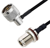 N Male Right Angle to N Female Bulkhead Cable Assembly using LC141TBJ Coax, 6 FT -- LCCA30102-FT6 -Image