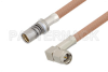 Snap-On BMA Jack to SMA Male Right Angle Cable 12 Inch Length Using RG400 Coax -- PE3C4958-12 -Image