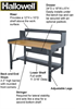 HALLOWELL HEAVY-DUTY ADJUSTABLE WORKBENCHES -- HWB4830S