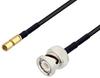 SSMC Plug to BNC Male Cable 100 cm Length Using RG174 Coax with HeatShrink -- PE3W06454/HS-100CM -Image