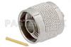 N Male Connector Solder Attachment for PE-SR405AL, PE-SR405FL, PE-SR405FLJ, PE-SR405TN, RG405 -- PE44700 -Image