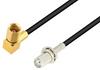 SMA Female Bulkhead to SSMC Plug Right Angle Low Loss Cable 12 Inch Length Using LMR-100 Coax -- PE3C4429-12 -Image