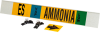 Brady B-681, B-883 Black / Blue / Green / White on Yellow Polyester Strap-On Pipe Marker - 3 1/2 in Character Height - Printed Msg = AMMONIA - 59922 -- 754476-59922 - Image