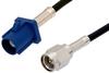 SMA Male to Blue FAKRA Plug Cable 48 Inch Length Using PE-C100-LSZH Coax -- PE39342C-48 -Image