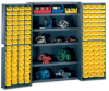 48 Wide Jumbo Deep-Door Bin Cabinet w.Shelves and 128 Bins -- 8500418