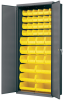 Akro-Mils 1000 lb Gray Yellow Powder Coated Steel 18 ga Non-Stackable Bin Cabinet - 18 in Overall Length - 36 in Width - 78 in Height - 24 Drawer - 18 Bins - Lockable - AC3618Y -- AC3618Y - Image