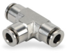 Push-to-Connect Air Fitting: tee, SS, for 6mm tubing -- UT6M-SS