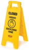 Rubbermaid 2 and 4-Sided Floor Signs with Multi-Lingual Imprints -- 8070 -- View Larger Image