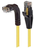 Category 5E Right Angle Patch Cable, Straight/Right Angle Down, Yellow, 15.0 ft -- TRD815RAY-15 -Image
