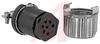 connector,mini hex,female plug w/locksleeve&hood w/cable clamp,solder,7 socket -- 70144727