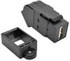 USB 2.0 All-in-One Keystone/Panel Mount Angled Coupler (F/F), Black -- U060-000-KPA-BK - Image