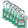 Brady Green Nylon Steel 6-pin Keyed & Safety Padlock 51345 - 1 1/2 in Width - 1 3/4 in Height - 1/4 in Shackle Diameter - 1 Key(s) Included - 754476-51345 -- 754476-51345
