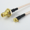 SMA Female Bulkhead to RA MMCX Plug Cable RG-316 Coax in 6 Inch and RoHS -- FMC1219315LF-06 -Image