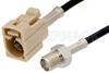 SMA Female to Beige FAKRA Jack Cable 12 Inch Length Using PE-C100-LSZH Coax -- PE39349I-12 -Image