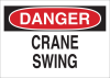 Brady B-302 Polyester Rectangle White Machine & Equipment Sign - 14 in Width x 10 in Height - Laminated - TEXT: DANGER CRANE SWING - 85926 -- 754476-85926