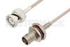 BNC Male to BNC Female Bulkhead Cable 12 Inch Length Using RG316 Coax -- PE3C3446-12 -Image