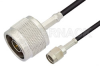 Reverse Polarity SMA Male to N Male Cable 12 Inch Length Using RG174 Coax, RoHS -- PE35221LF-12 -Image