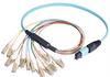 MPO Male to 12x LC Fan-out, 12 Fiber Ribbon, OM4 100G 50/125 Multimode, LSZH Jacket, Aqua, 5.0m -- MPM12OM4-LC-5 - Image