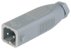 Rectangular Field Attachable Power Connector (ST Series): Male, straight with strain relief , 2-pin+PE, grey housing, 230 V AC/DC, 16 A AC/6 A DC -- STAS 20 - Image