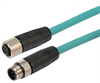 Category 5e M12 4 Position D code Double Shielded Industrial Cable, M12 M / M12 F, 0.5m -- T5A00011-05M -Image