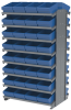 Akro-Mils 1800 lb Blue Gray Powder Coated Steel 16 ga Double Sided Fixed Rack - 36 3/4 in Overall Length - 64 Bins - Bins Included - APRD182 BLUE -- APRD182 BLUE - Image