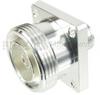 4 Hole Flange N Female (Jack) to 7/16 DIN Female (Jack) Adapter, Silver Plated Brass Body, 1.2 VSWR -- SM4670 - Image