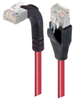 Category 6 Shielded LSZH Right Angle Patch Cable, Straight/Right Angle Up, Red, 7.0 ft -- TRD695SZRA2RD-7 -Image