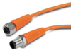 PATCH CABLE 0.3m (0.98ft) M12 AXIAL FEMALE/AXIAL MALE 4-POLE PVC IP69K ORG -- EVT225 - Image