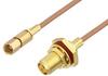 SMA Female Bulkhead to SSMC Plug Cable 6 Inch Length Using RG178 Coax -- PE3C4395-6 -Image