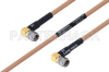 MIL-DTL-17 SMA Male Right Angle to SMA Male Right Angle Cable 12 Inch Length Using M17/128-RG400 Coax -- PE3M0081-12 -Image