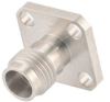 2.4mm Female (Jack) Connector Field Replaceable 4 Hole Flange (Panel Mount), .340 inch Hole Spacing 0.012 inch Pin with Metal Contact Ring