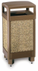 Aggregate Stone Panel Trash Receptacle with Hinged Top -- CAN245 - Image