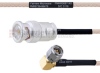 BNC Male to RA SMA Male MIL-DTL-17 Cable M17/113-RG316 Coax in 36 Inch -- FMHR0087-36 -Image