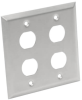Bulkhead Wall Plate, 4 Cutouts, Industrial, Metal - Stainless Steel, IP44, Double Gang, TAA -- N206-FP04-IND -- View Larger Image