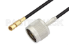 N Male to SSMC Plug Low Loss Cable 48 Inch Length Using LMR-100 Coax -- PE3C4432-48 -Image