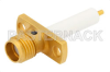 SMA Female Connector Solder Attachment 2 Hole Flange Mount Stub Terminal, .481 inch Hole Spacing, Up to 27 GHz -- PE44343 -Image