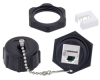 Cat 5e IP67 RJ45 to 110 Bulkhead Panel Mount Coupler, Shielded, Feed-Thru, PoE+ with Dust Cap -- T5C00028 - Image