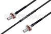 MIL-DTL-17 SMA Female Bulkhead to SMA Female Bulkhead Cable 36 Inch Length Using M17/119-RG174 Coax -- PE3M0110-36 -Image