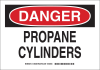 Brady B-302 Polyester Rectangle White Chemical, Biohazard, Hazardous & Flammable Material Sign - 14 in Width x 10 in Height - Laminated - TEXT: DANGER PROPANE CYLINDERS - 126383 -- 754473-74561